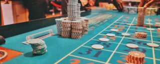 Chips on a roulette table